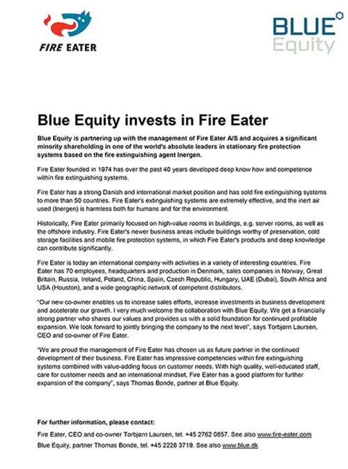 Blue Equity invests in Fire Eater